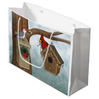 Bird House Holiday Large Gift Bag