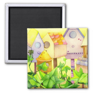 Bird Houses Square Magnet