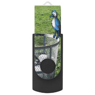 Bird Hybrid on Trash Can Swivel USB 2.0 Flash Drive