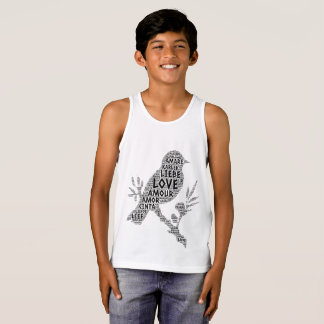 Bird illustrated with Love Word Singlet