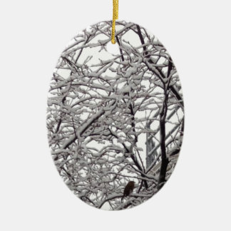 Bird in a Snow Covered Tree Ceramic Oval Decoration