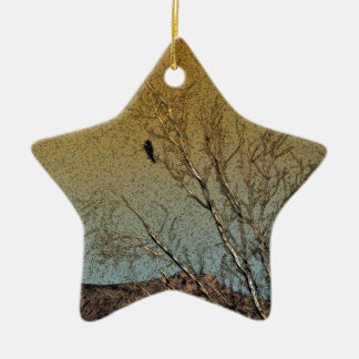 Bird in a tree Double-Sided star ceramic christmas ornament