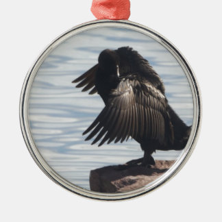 Bird in Flight Silver-Colored Round Decoration