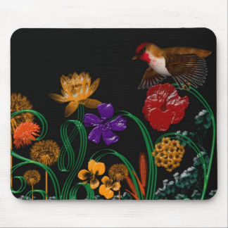 bird in flower box mouse pad