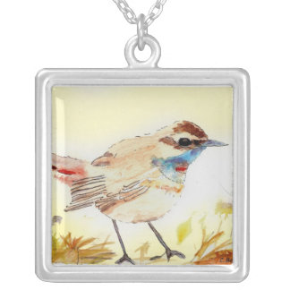 Bird is the Word Square Pendant Necklace