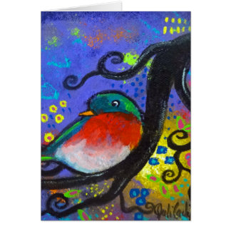 Bird IV~Purple Song Greeting Card