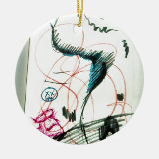Bird Line and the Dancing Pen Round Ceramic Decoration