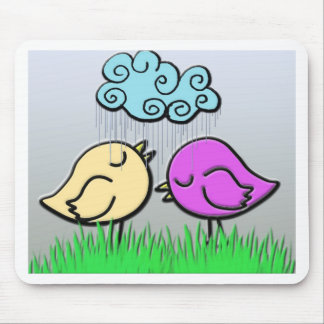 Bird Love In The Rain Mouse Pad