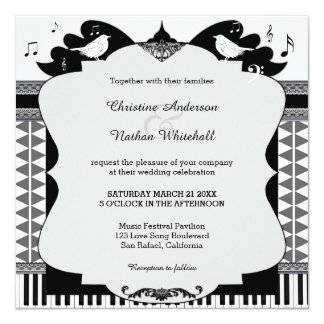 Bird Love Song Music Wedding Invitation
