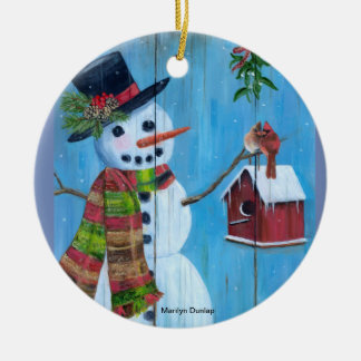 Bird Lovers and Mistletoe Ceramic Ornament