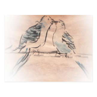 Bird lovers in baby blue and white postcard