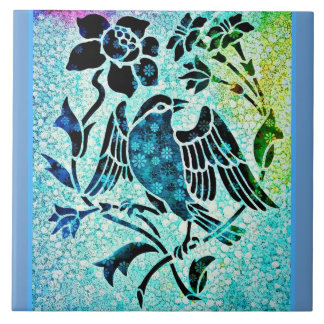 Bird Mosaic Large Square Tile