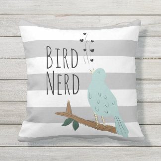 Bird Nerd Striped Outdoor Pillow