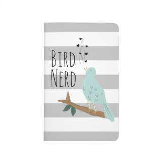 Bird Nerd Striped Pocket Journal