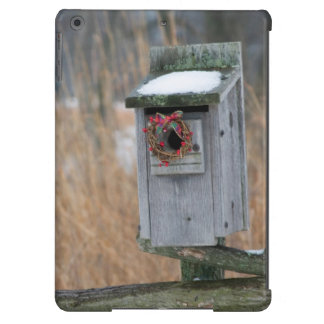 Bird, nest box with holiday wreath in winter iPad air cases