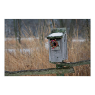 Bird, nest box with holiday wreath in winter poster