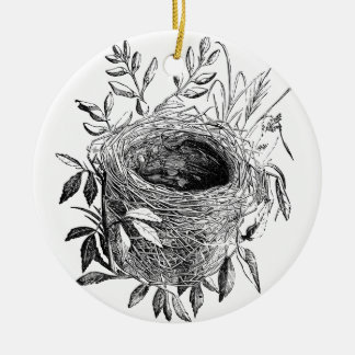 bird nest vintage illustration round ceramic decoration