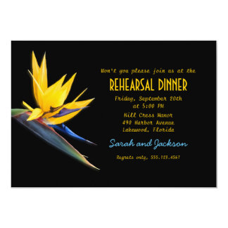 Bird of Paradise Black Beach Rehearsal Dinner Card