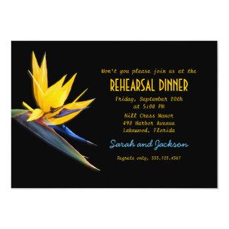 Bird of Paradise Black Beach Rehearsal Dinner 13 Cm X 18 Cm Invitation Card