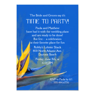 Bird of Paradise Blue Fun Saying Rehearsal Dinner Card