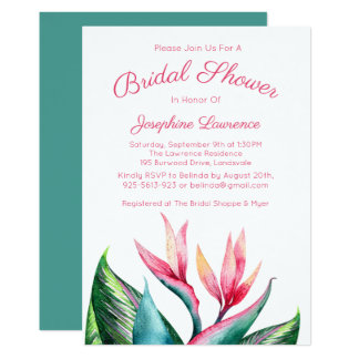 Bird of Paradise Bridal Shower Invitations
