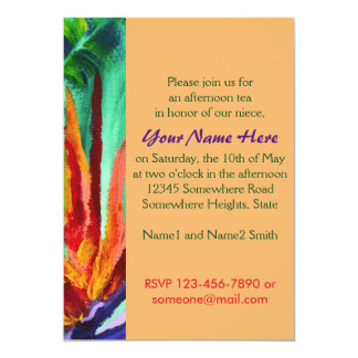 Bird of Paradise Crane Flower Acrylic Painting 5x7 Paper Invitation Card