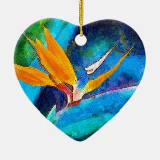 bird of paradise flower ceramic ornament