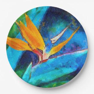 bird of paradise flower paper plate