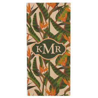 Bird Of Paradise Flower Pattern | Monogram Wood USB 2.0 Flash Drive