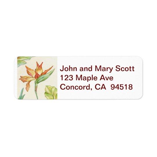 Bird of Paradise Flower return address label