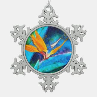 bird of paradise flower snowflake pewter christmas ornament
