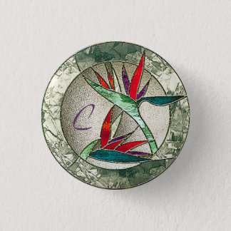 Bird of Paradise Flower Stained Glass Look 3 Cm Round Badge
