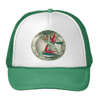 Bird of Paradise Flower Stained Glass Look Cap