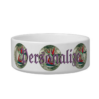 Bird of Paradise Flower Stained Glass Look Pet Bowls