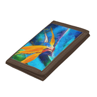bird of paradise flower tri-fold wallet