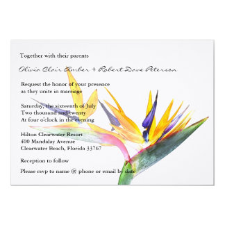 Bird of Paradise Flower Wedding Invitation