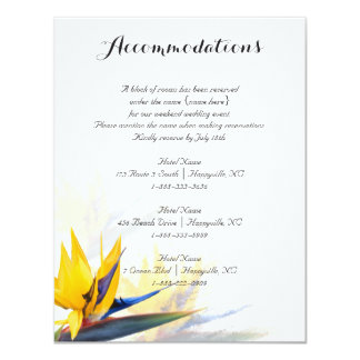 Bird of Paradise Flowers Accommodations Insert Card