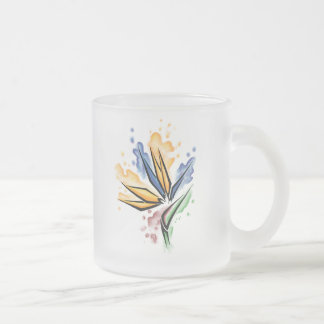 Bird of Paradise Frosted Glass Coffee Mug