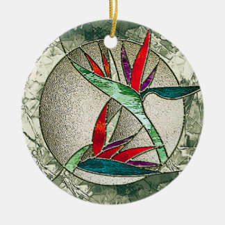 Bird of Paradise Glass Art Ornament