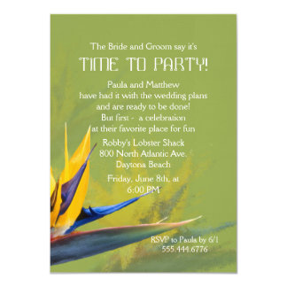 Bird of Paradise Green Fun Saying Rehearsal Dinner Card