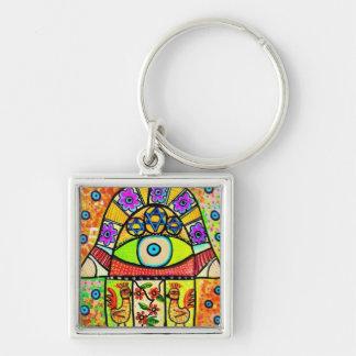 Bird Of Paradise Hamsa Silver-Colored Square Key Ring