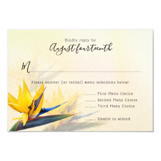 Bird of Paradise Hawaiian Wedding Menu Reply Cards