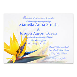 Bird of Paradise Horizontal Wedding Invitations