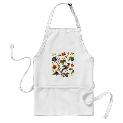 Bird of Paradise Jacobean Embroidery Aprons
