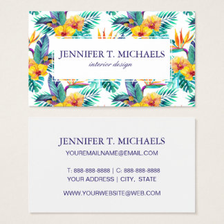 Bird Of Paradise & Orchid Pattern |Add Your Name Business Card