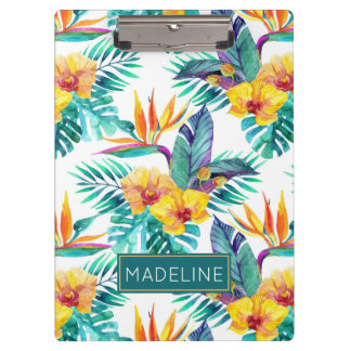 Bird Of Paradise & Orchid Pattern | Add Your Name Clipboards