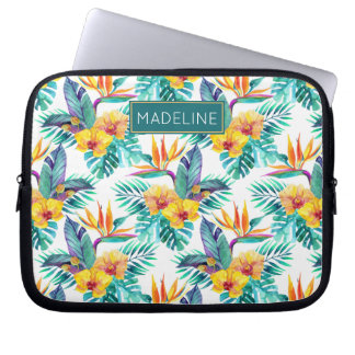 Bird Of Paradise & Orchid Pattern | Add Your Name Computer Sleeves