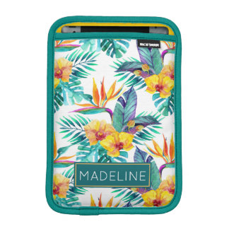 Bird Of Paradise & Orchid Pattern | Add Your Name iPad Mini Sleeves