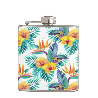 Bird Of Paradise & Orchid Pattern Flasks