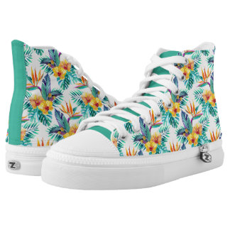 Bird Of Paradise & Orchid Pattern Printed Shoes